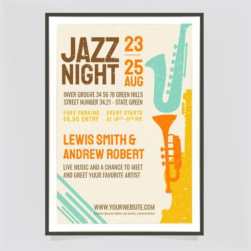 Cartel retro de la noche de jazz de vector