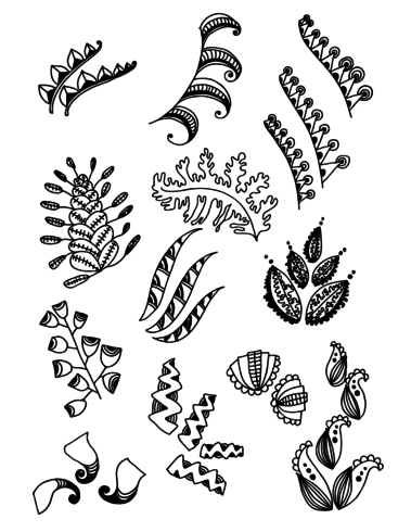 Set van Doodle Leaves hand draw vector