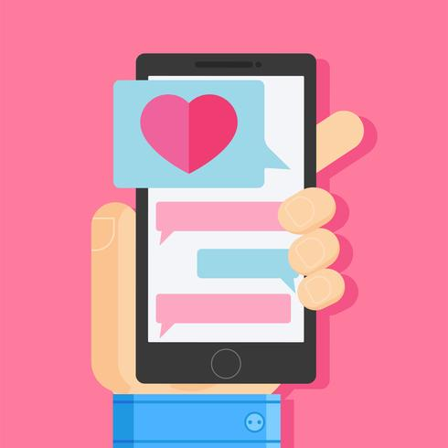 """Hand hält Smartphone mit """"Love"""" -Meldung"""