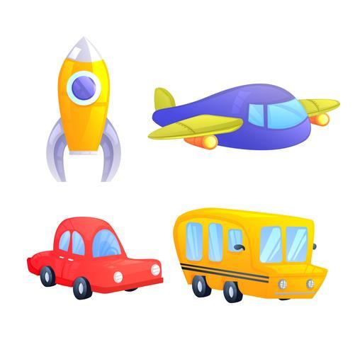 Juego de juguetes infantiles para niños. Ilustración vectorial de dibujos animados