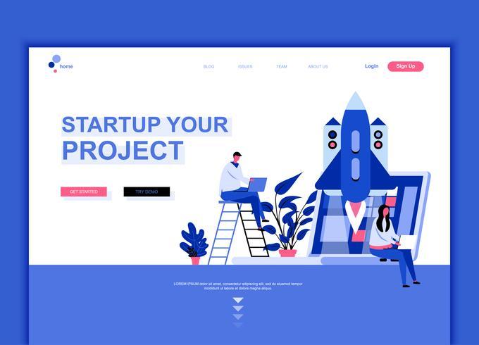 Concepto de plantilla de diseño de página web plana moderna de inicio su proyecto