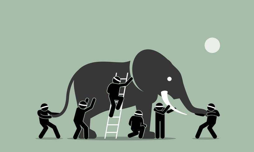 Blinde mannen die een olifant aanraken.