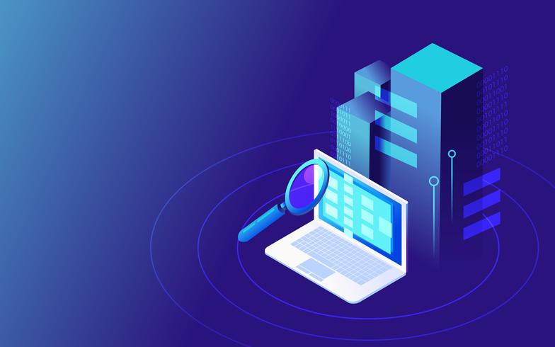 Big data isometric vector illustration. Save files in the cloud