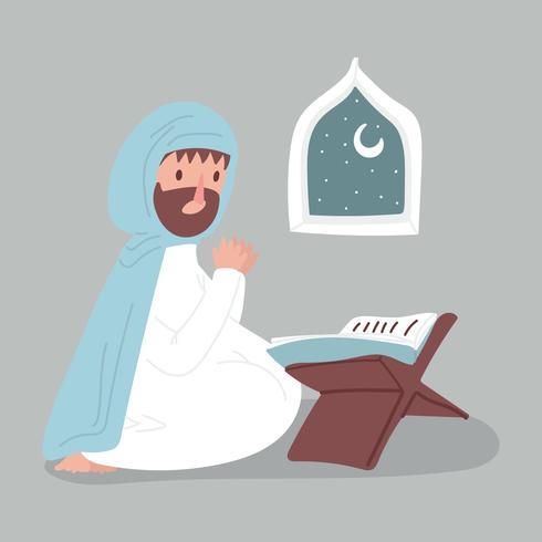 Mann, der mit einem Quran betet