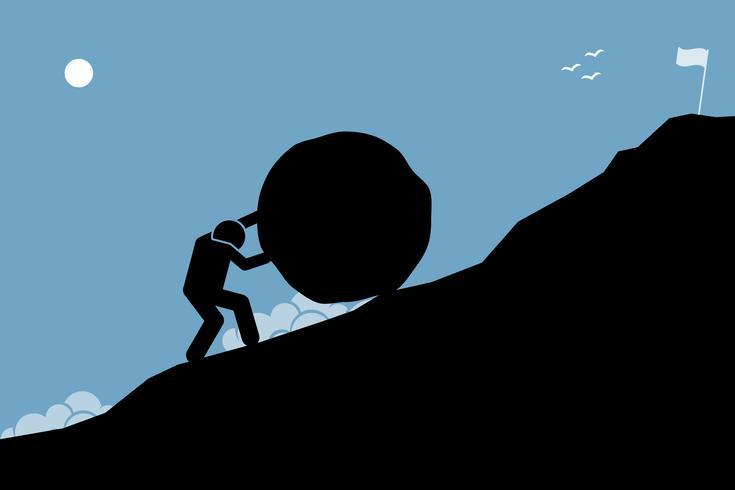 Un hombre fuerte que empuja una gran roca cuesta arriba para alcanzar la meta en la cima.