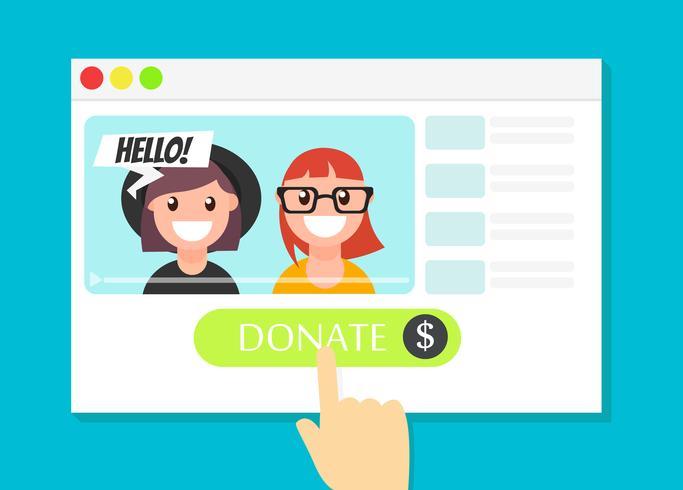 A janela do navegador com o botão Donate. Dinheiro para videobloggers. Ilustração plana vetor]