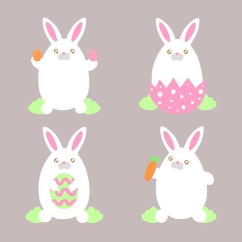 Vectorpaashaasinzameling met Eieren, Wortel en Aard