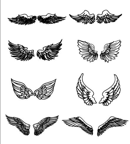 Set van vleugels Hand getrokken vector