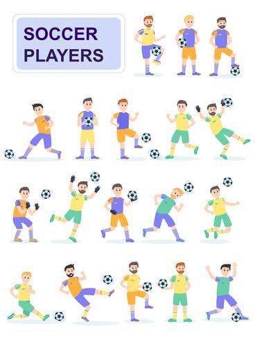 Conjunto de jugadores de pelota de fútbol con diferentes poses.