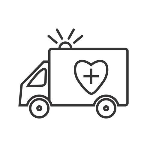 Linea di ambulanza icona nera