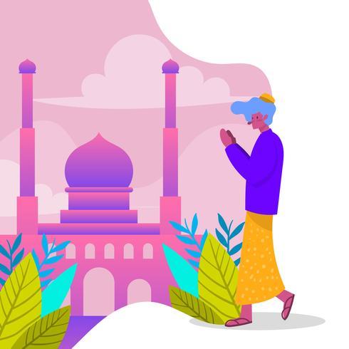 El personaje moderno plano celebra a Eid Mubarak con el fondo de la mezquita, ilustración vectorial
