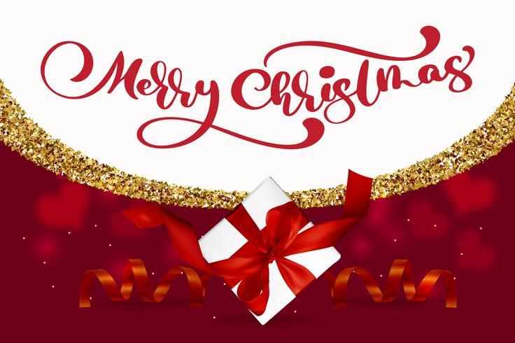 Vrolijk kerstfeest belettering, rode achtergrond vectorillustratie, met een Mesh geschenkdoos en gouden sneeuwvlokken. Kerst wenskaart