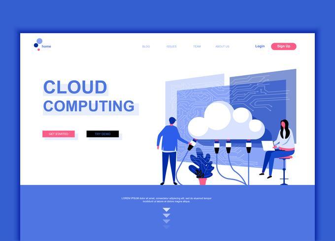 Moderno concetto di modello di design piatto pagina web di tecnologia cloud