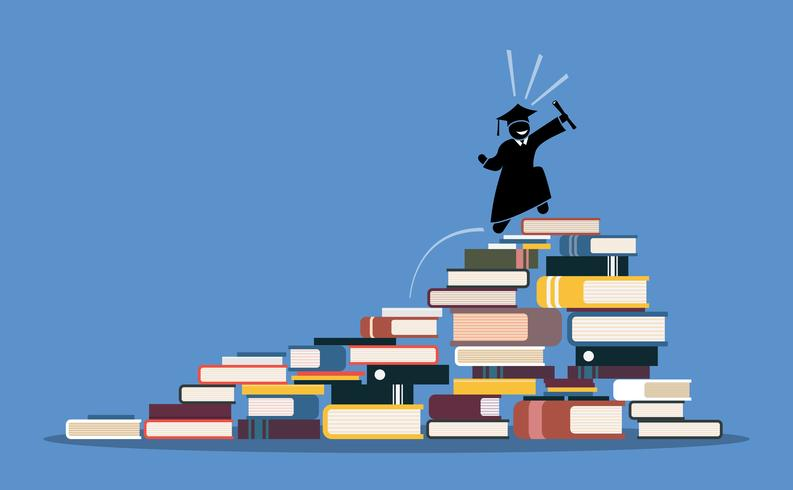Happy graduating student climbing to the top of book piles. vector