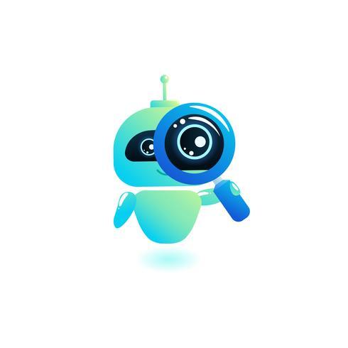 La ricerca di Chatbot appare in una lente di ingrandimento. Bot di ottimizzazione dei motori di ricerca. Illustrazione di cartone animato vettoriale