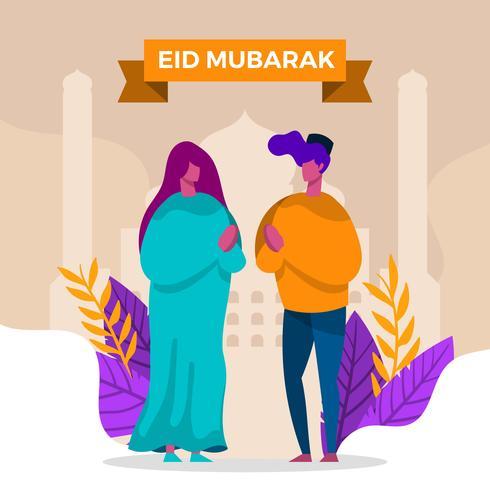 Familia moderna plana celebrar Eid Mubarak ilustración vectorial