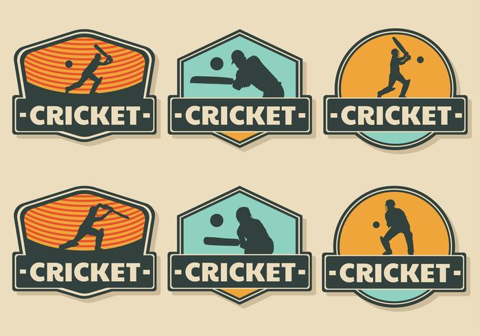 cricket player badge vedctor pack vektor