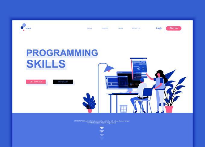 Concepto de plantilla de diseño de página web plana moderna de habilidades de programación