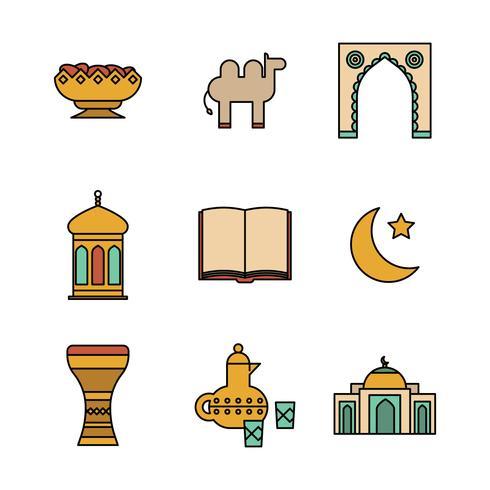 Ícones esboçados muçulmanos vetor