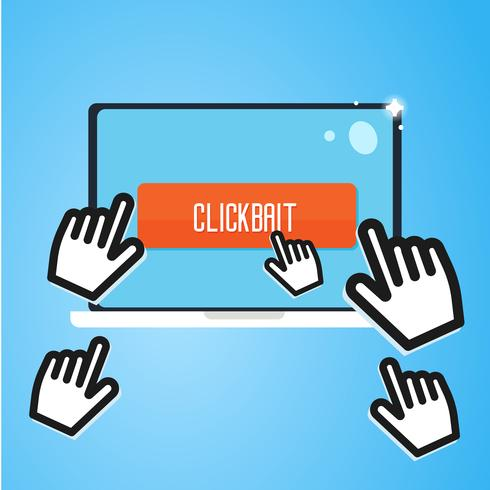 Clickbait. Los cursores de la mano vuelan a la computadora portátil, presione el botón. Publicidad digital. Vector ilustración plana