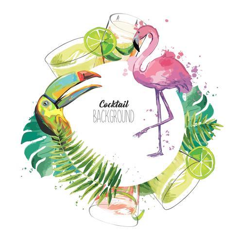 Disegno del modello esotico con fenicottero, tucano, bevande e foglie tropicali.
