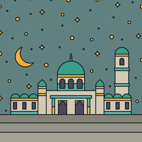 Mezquita Con Un Cielo Estrellado En El Fondo