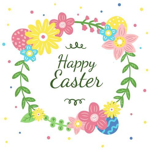 Leuke bloemenkroon met eieren aan Pasen-seizoen