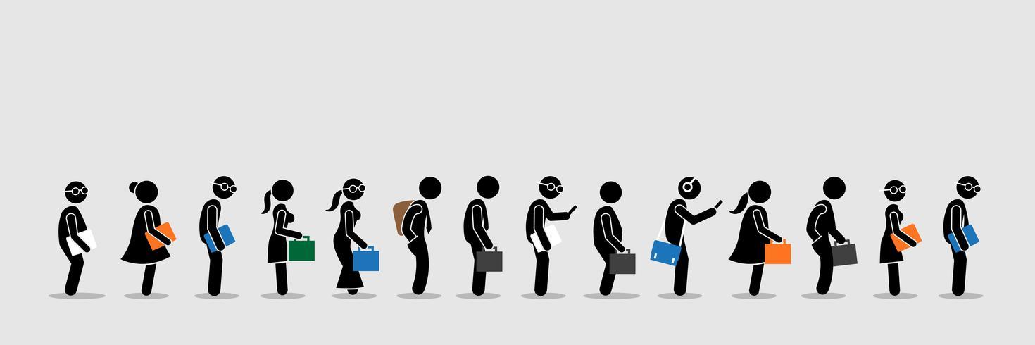 Werkzoekenden of kantoormedewerkers en werknemers staan in de rij in de rij. vector
