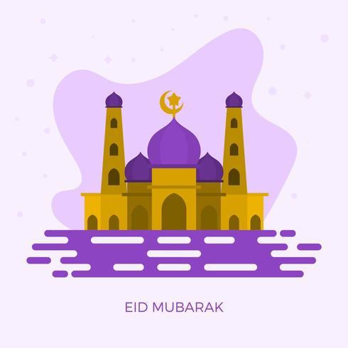 Flat Eid Mubarak Hälsningar Vektorillustration vektor