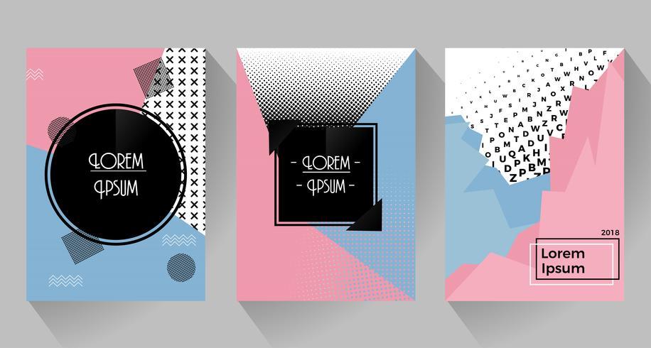 Vector design retro abstrato de cartazes e folhetos. Tom rosa e azul com meio-tom.