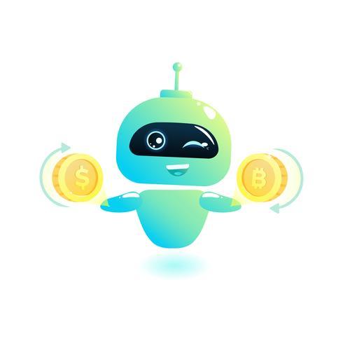 Lindo bot cambio de moneda. Chatbot saluda. Consulta online. Ilustración vectorial de dibujos animados vector