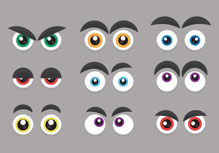 Olhos de desenho animado e conjunto de expressão