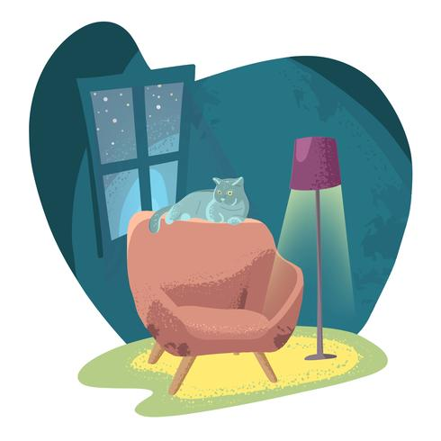 Poltrona aconchegante em um quarto escuro com uma lâmpada de assoalho e gato. vetor