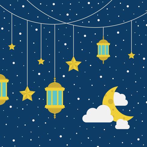 Ciel étoilé avec des lanternes