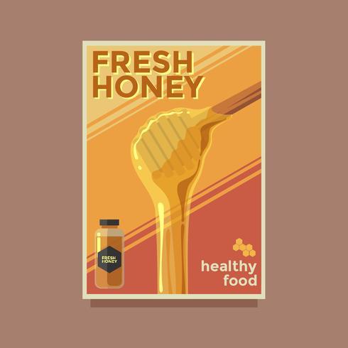 Cartel retro de miel fresca vector plantilla
