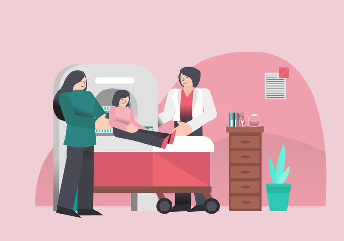 Chequeo médico para el cuidado de la salud en la clínica Vector Illustration