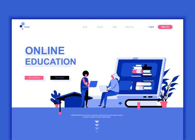 Concepto de plantilla de diseño de página web plana moderna de educación en línea