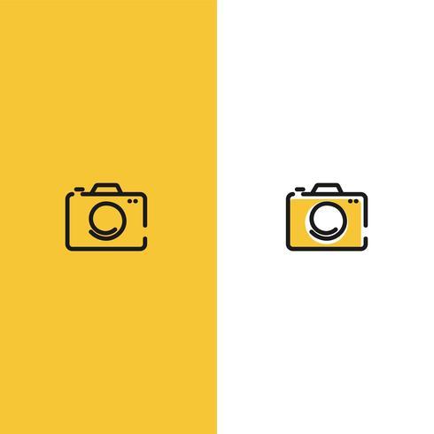 Logo créatif avec appareil photo. Inscrivez-vous pour le photographe. Ligne noire avec logo plat moderne fond jaune