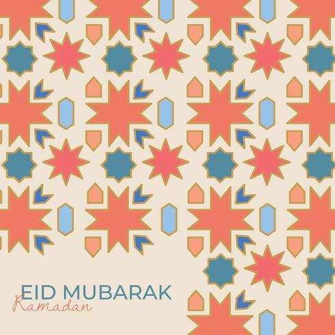 Mosaico arabo con l'iscrizione di Eid Mubarak vettore