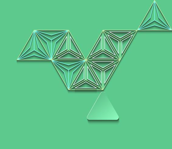 Extracto del polígono en fondo verde. vector