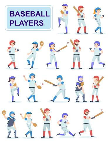 Conjunto de jugadores de béisbol en uniforme clásico vector