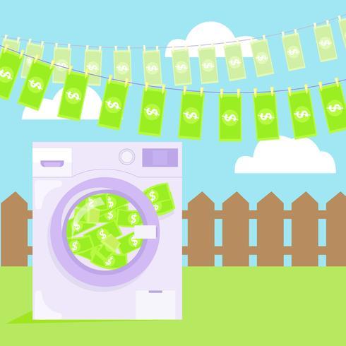 Geldwäsche in der Waschmaschinenillustration. Vektor flach