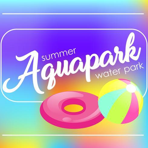 """Texto """"Aquapark"""" em um fundo desfocado. Ilustração plana de vetor"""