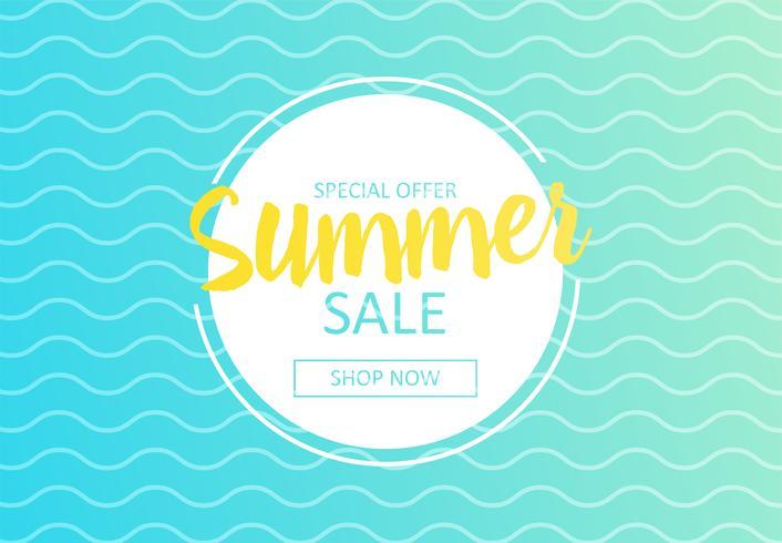 Bonjour été. Bannière de vente dans la boutique en ligne. Offre spéciale, achetez maintenant. Illustration de dessin animé de vecteur