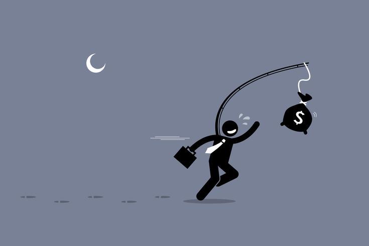 Hombre ajeno persiguiendo una bolsa de dinero. vector