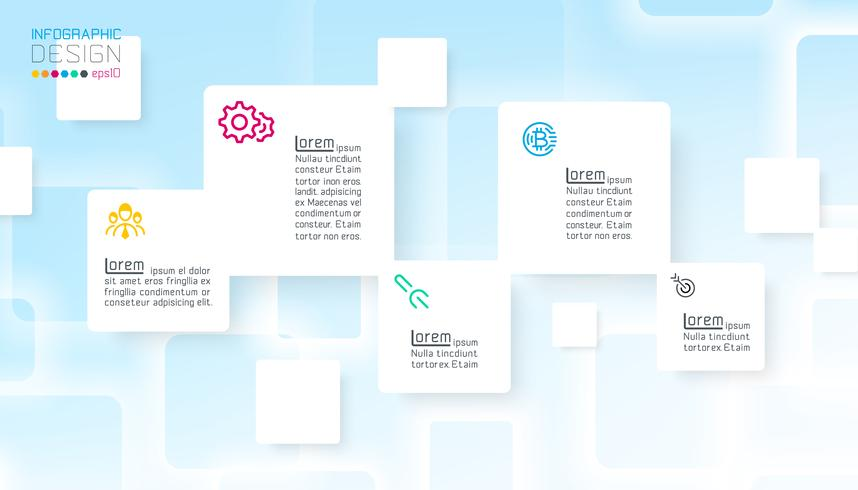 Square infographics on blue abstract background vector