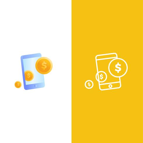 Logo für mobiles Geld. Ein Telefon mit Dollar-Goldmünzen.