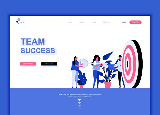 Modern flat web page design template concept of Team Success