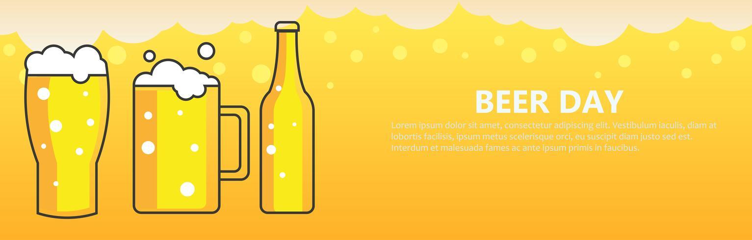 Fondo de banner de día de cerveza. Vector ilustración plana