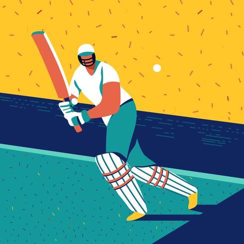 springande cricket spelare vektor